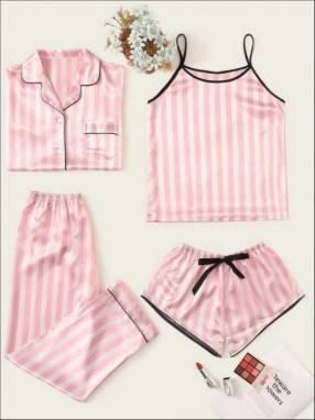 Set de pijamas 4 a rayas rosado
