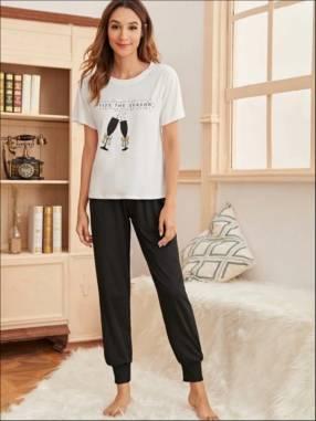 pijama copas jogger negro blusa blanca