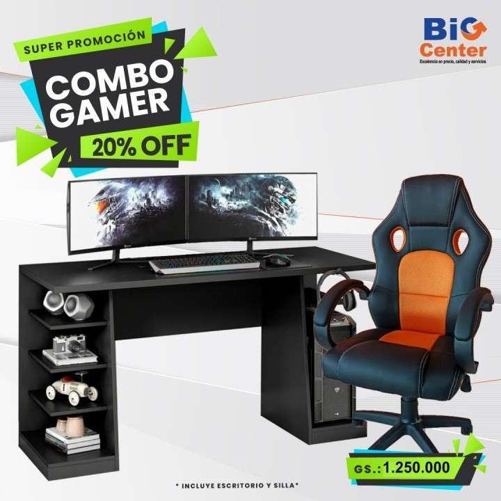 Silla gamer con escritorio mesa gamer - 0