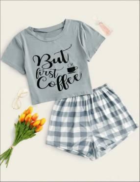 Pijama celeste cuadros short blusa but first coffe