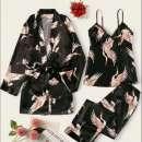 Set de pijama negro 3 pájaro blusa kimono y pantalón - 0
