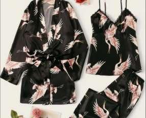 Set de pijama negro 3 pájaro blusa kimono y pantalón