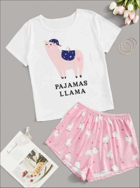 Pijama rosado llama - 0