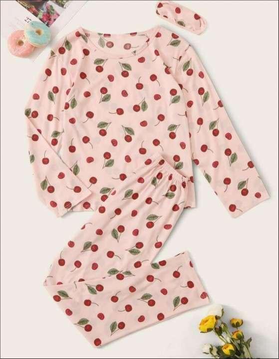Pijama de cereza rosado mangas largas pantalón - 0