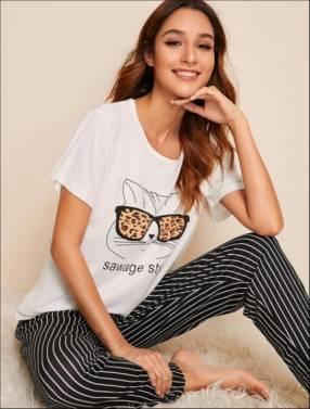Pijama gato lente leopardo pantalón rayas
