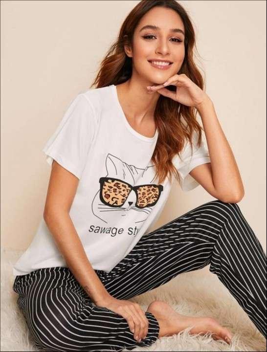 Pijama gato lente leopardo pantalón rayas - 0