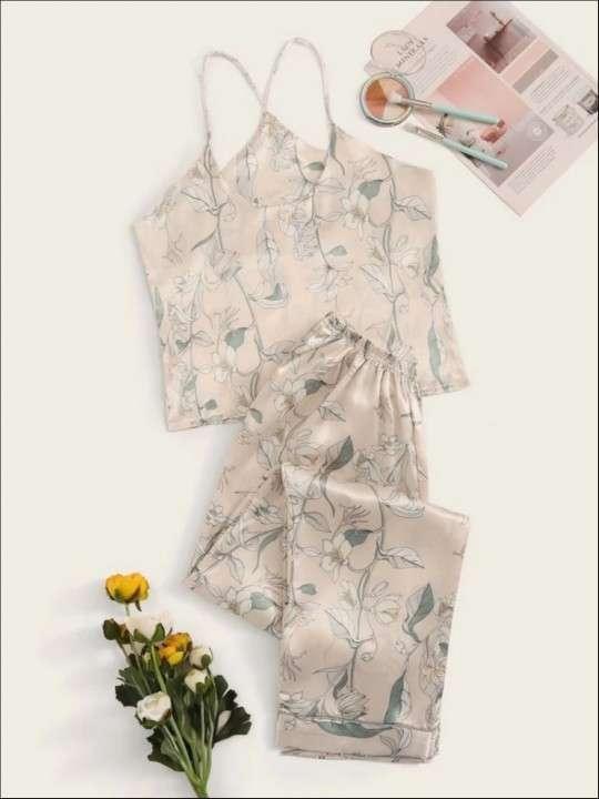 Pijama beige floreado satén pantalón y blusa - 0