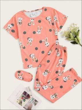 Pijama conejo rosado pantalón y remera