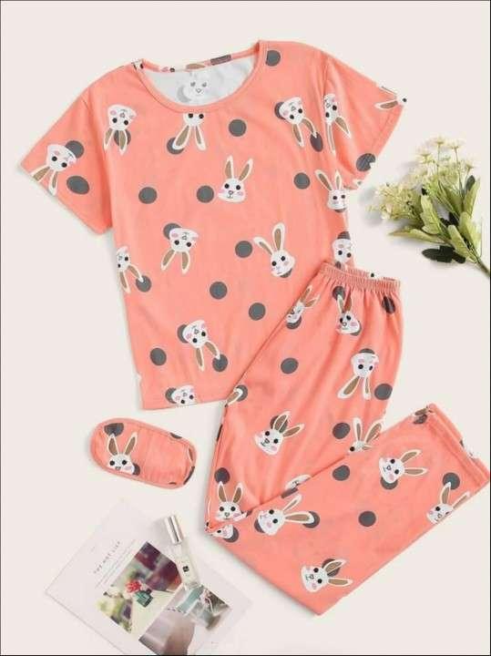 Pijama conejo rosado pantalón y remera - 0