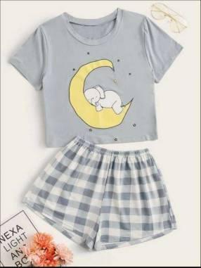 Pijama a cuadros celeste elefante