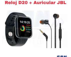 Smartwatch D20 con auricular JBL T110
