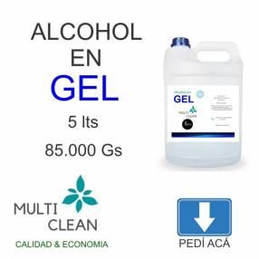 Alcohol en gel 5 lts 1 lts y 250 ml