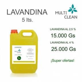 Lavandina al 2.5% o al 4% de 5L
