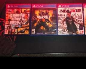 Playstation 4 con control, auricular y 3 juegos