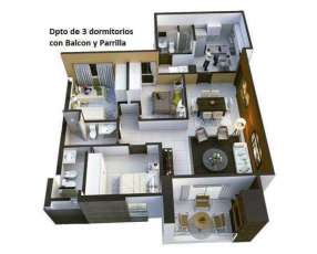Departamento de 3 dormitorios zona Barrio Gral. Díaz