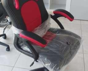 Silla gamer giratoria roja 90 kilos