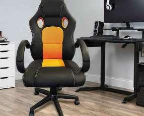 Silla gamer negro naranja 80 kilos 928