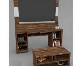 Panel rack y mesa centro para sala combo natal p/ tv 55