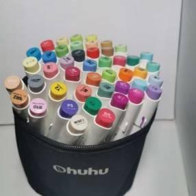 48 marcadores Ohuhu a base de alcohol y con punta de pincel