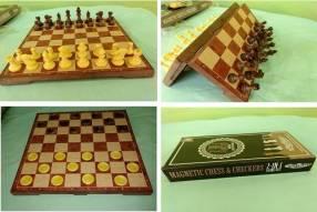 Juego de ajedrez y damas magnético de plástico