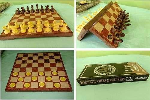 Juego de ajedrez y damas magnético de plástico - 0