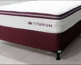 Somier super spuma titanium 160x200 base y colchon