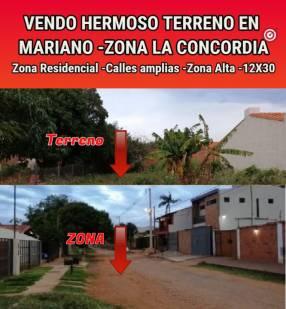 Terreno en Mariano La Concordia Zona Residencial 12x30