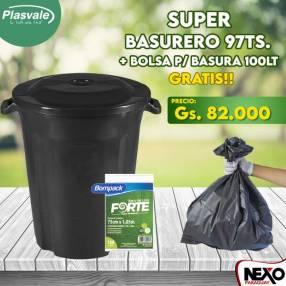 Basurero negro 97 litros Plasvale