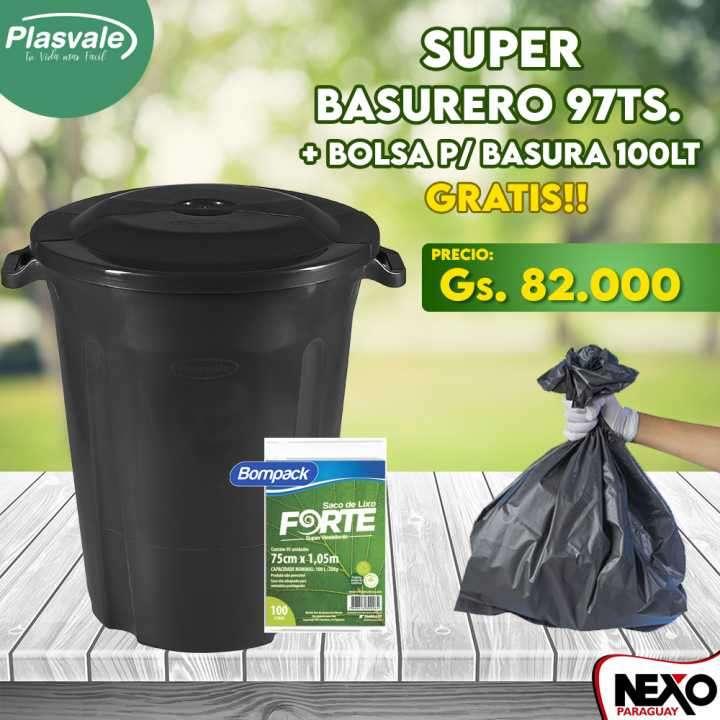 Basurero negro 97 litros Plasvale - 0