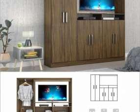 Ropero de 6 puertas espacio para tv hasta 50 pulgadas