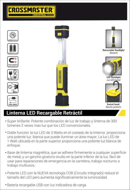 Linterna LED recargable retractil 3W Crossmaster - 1