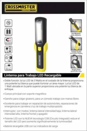 Linterna led recargable para inspección 3W Crossmaster