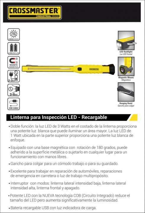 Linterna LED recargable para inspección 3W Crossmaster - 1