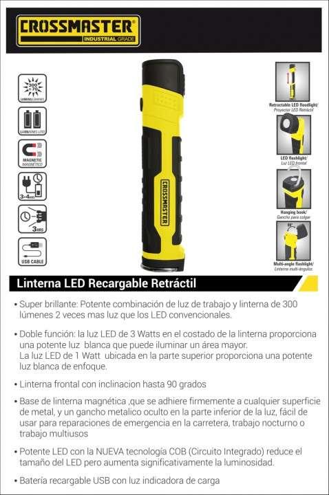 Linterna LED recargable retráctil 3W Crossmaster - 1