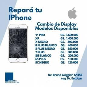 Reparacion de celulares iPhone cambio de pantalla o display