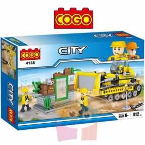 Tractor de Construcción Juego de Construcción Cogo Block 412 piezas