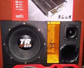 Caja acústica con parlante golpe seco megabass de 1200watts