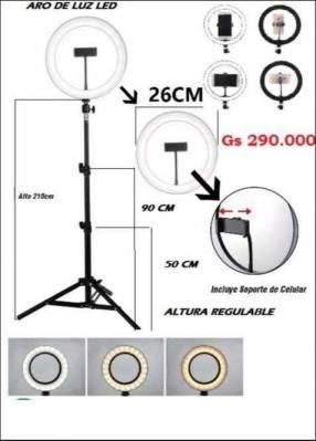 Aro de luz led con porta celular y tripode de 26 cm