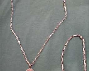 Cadena de plata con dije medalla San Benito y pulsera de plata