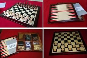 Conjunto de ajedrez, damas, backgammon, dominó y cribbage