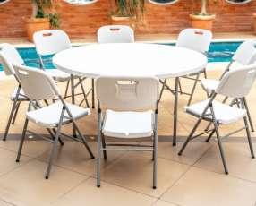 Mesa redonda 1,22 cm para 6 sillas