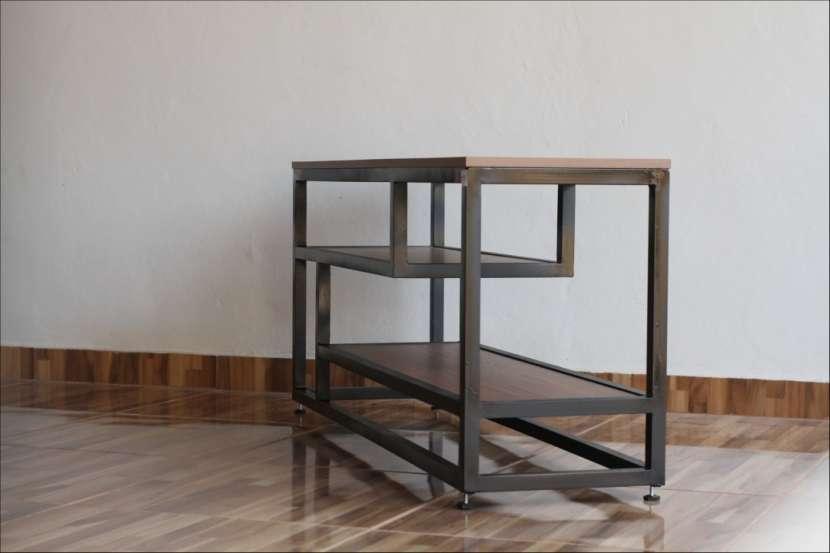 Rack para tv soporte de metal y madera - 3