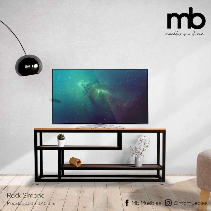 Rack para tv soporte de metal y madera - 0