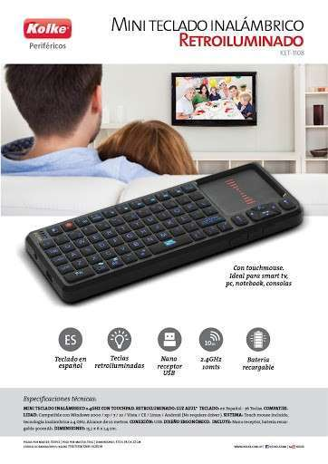 Mini teclado inalámbrico 2.4GHz con Touchpad - 2