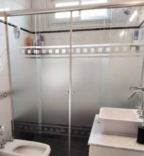 Mampara para baño de blindex con arenado