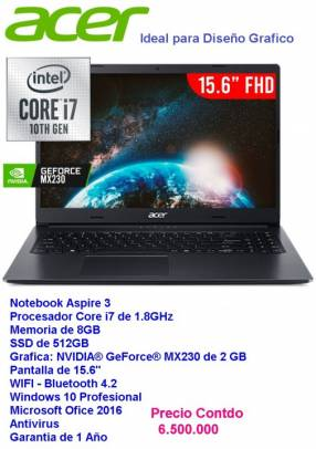Notebook Acer Aspire3 Core i7/8gb/ssd512/gráfico2gb