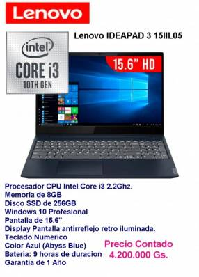 LenovoIDEAPAD 3 15IIL05 Core i3/8gb/SSD 512Gg.