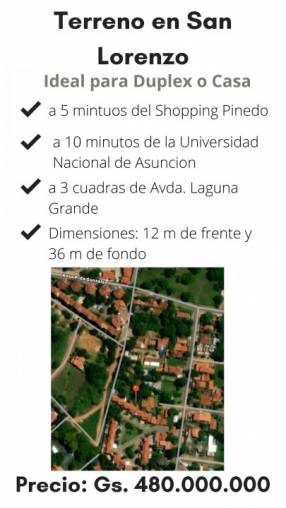Terreno en San Lorenzo zona Residencial
