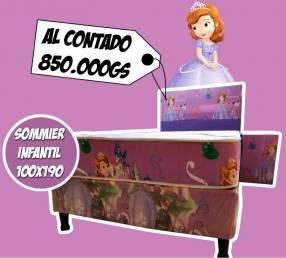 Sommier infantil 1,00x1,90 diseño Princesa Sofía