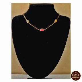 Collar tipo choker bijou de caracoles de colores